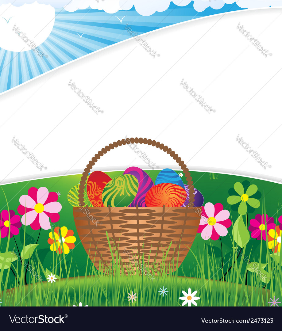 Easter basket on the morning lawn vector | Price: 1 Credit (USD $1)