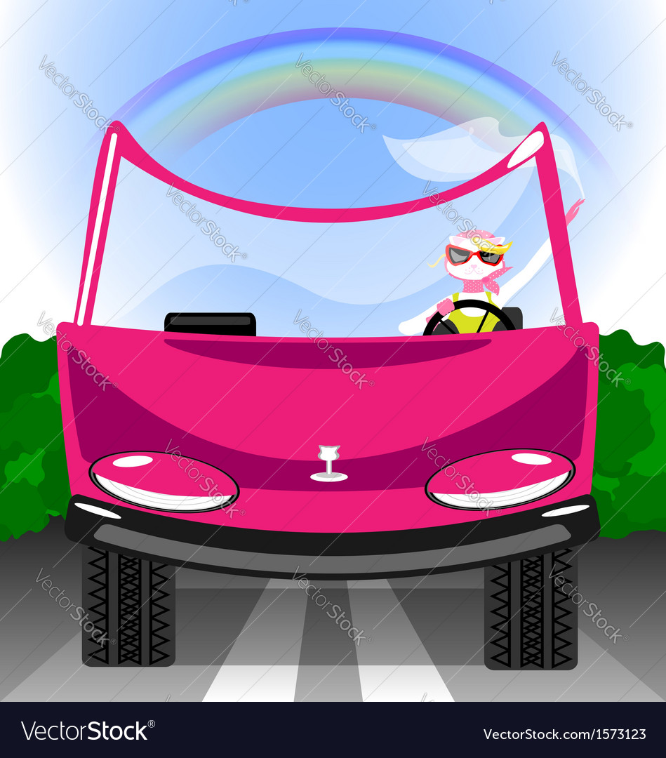Girl cat in the car vector | Price: 1 Credit (USD $1)