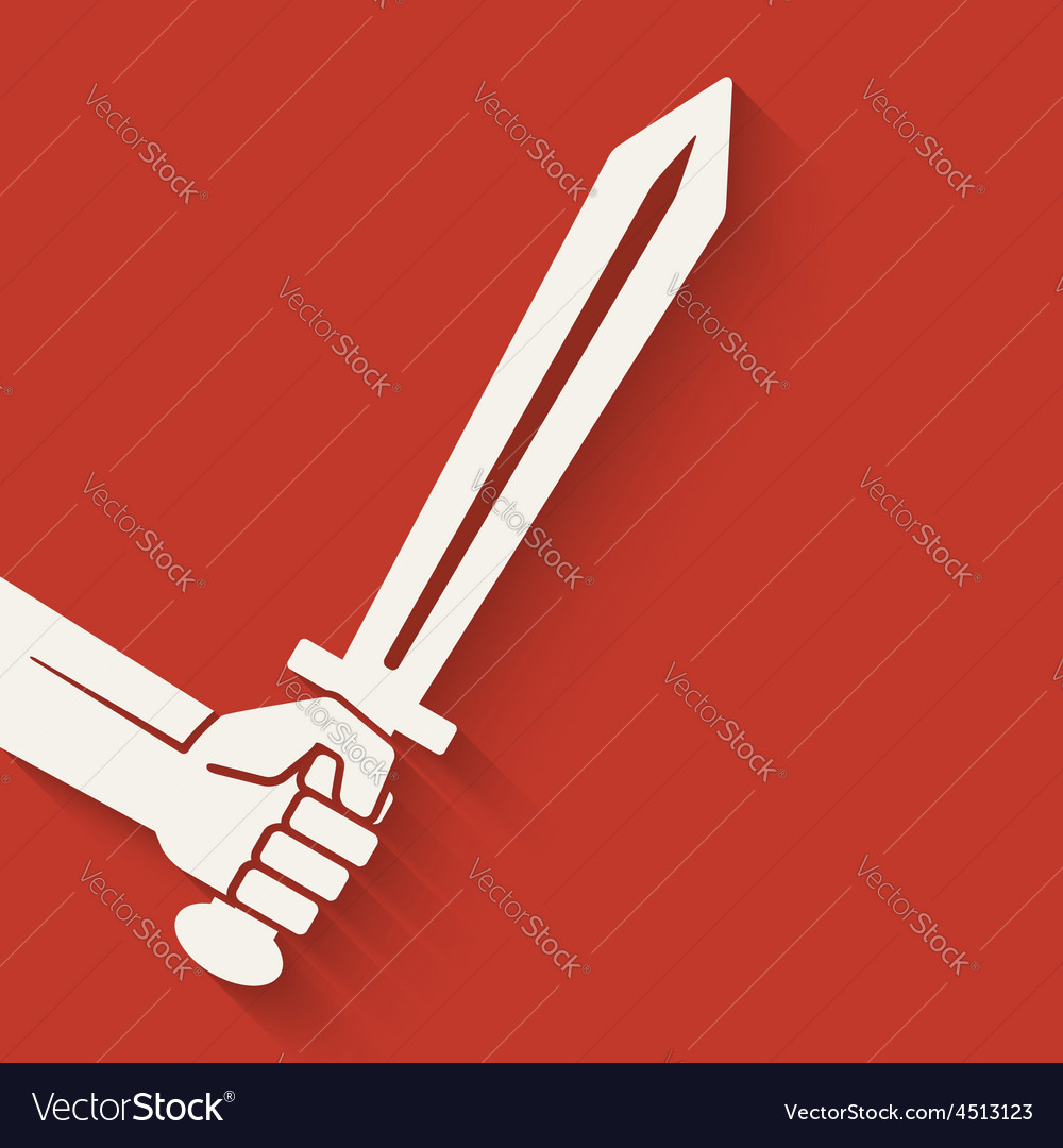 Hand with sword symbol vector | Price: 1 Credit (USD $1)