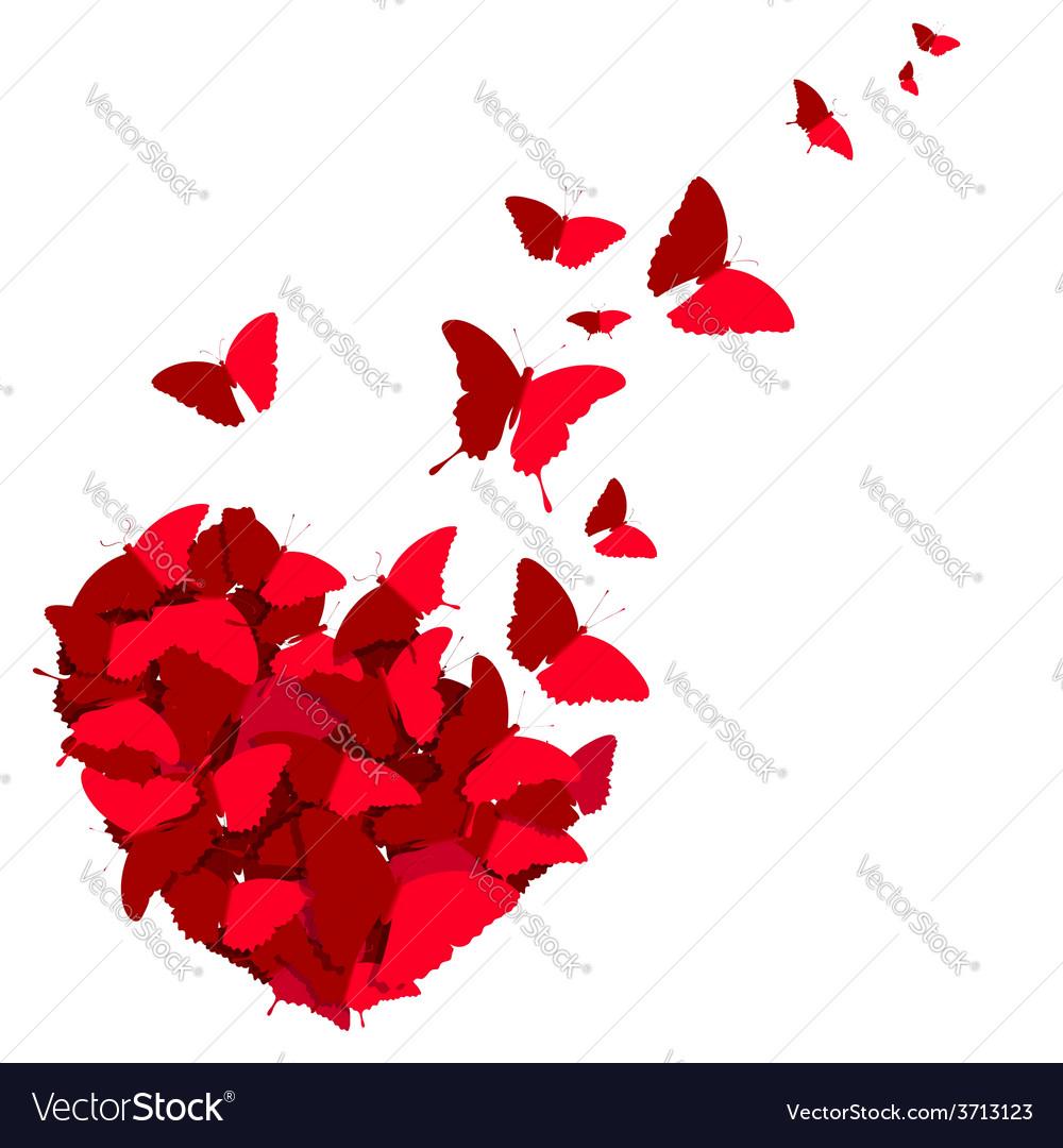 Heart of butterflies vector | Price: 1 Credit (USD $1)