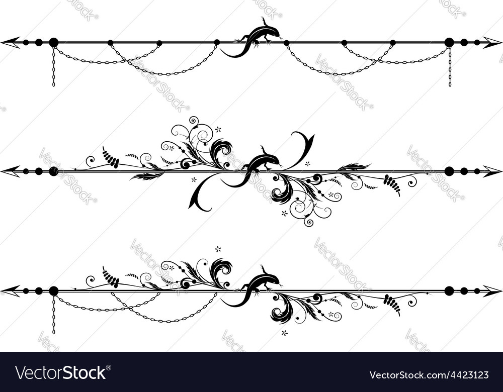 Lizard floral and chain background vector | Price: 1 Credit (USD $1)
