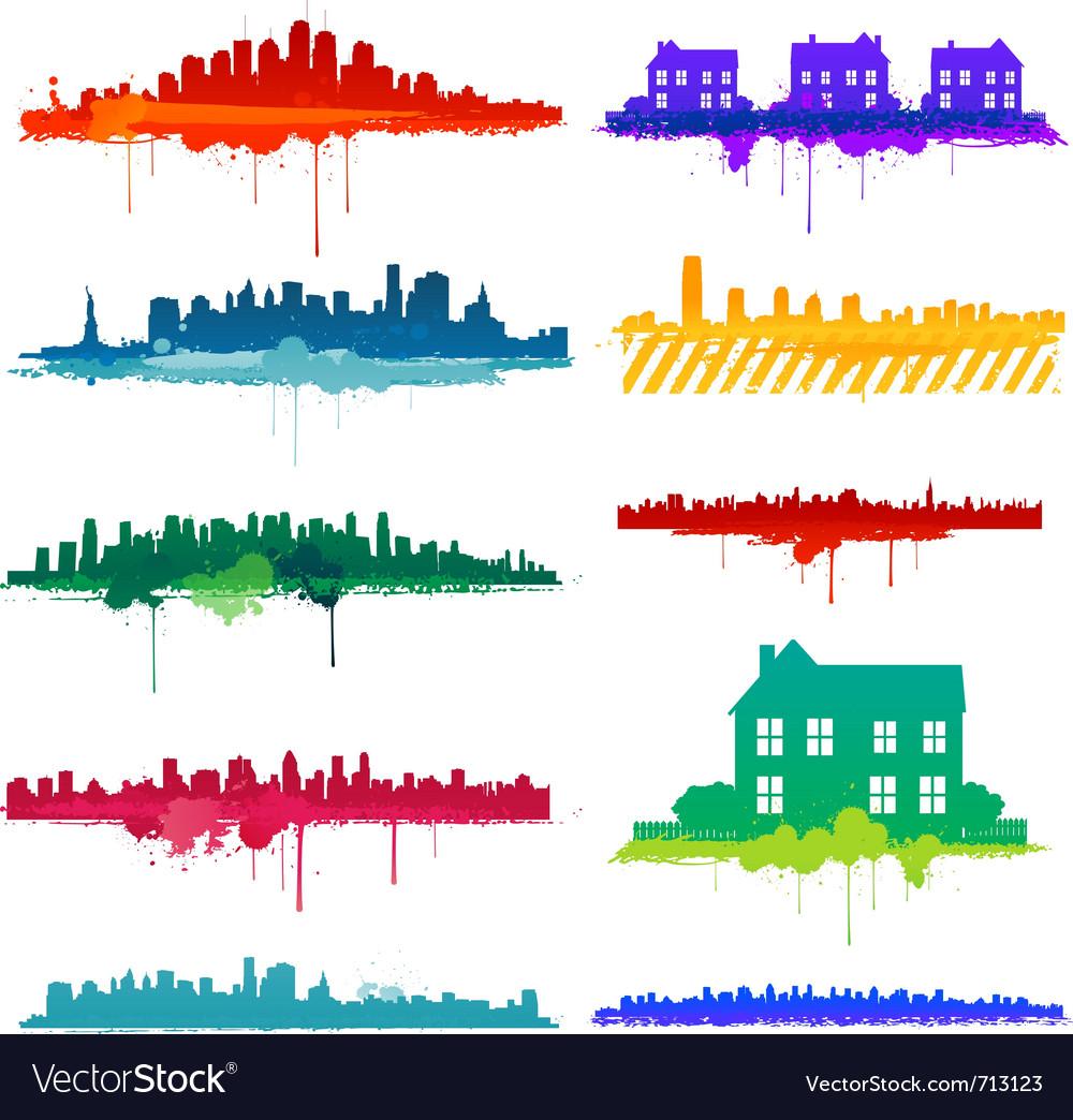 Paint splat city design vector | Price: 1 Credit (USD $1)