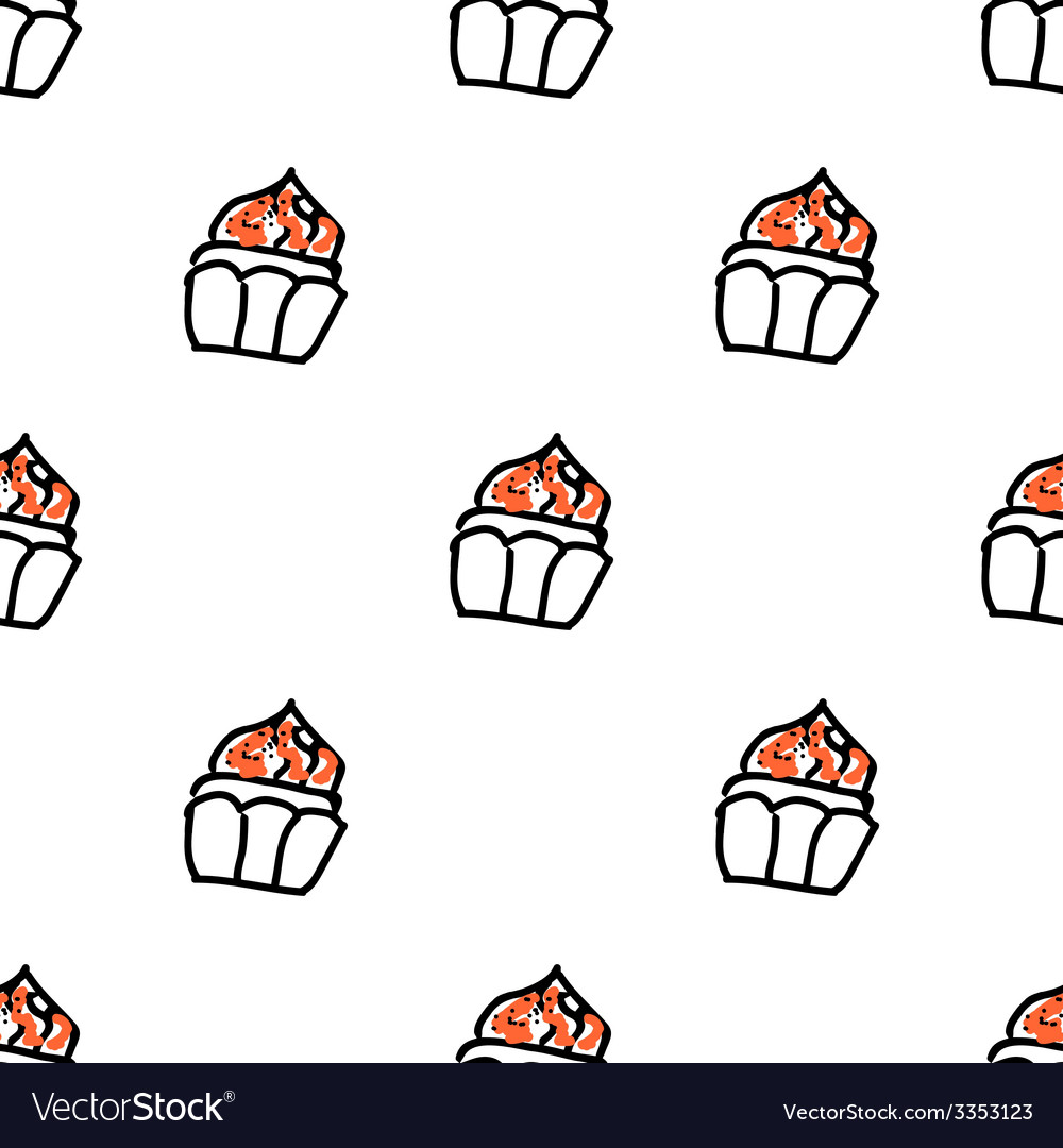 Seamless pattern with doodle cupcakes vector | Price: 1 Credit (USD $1)