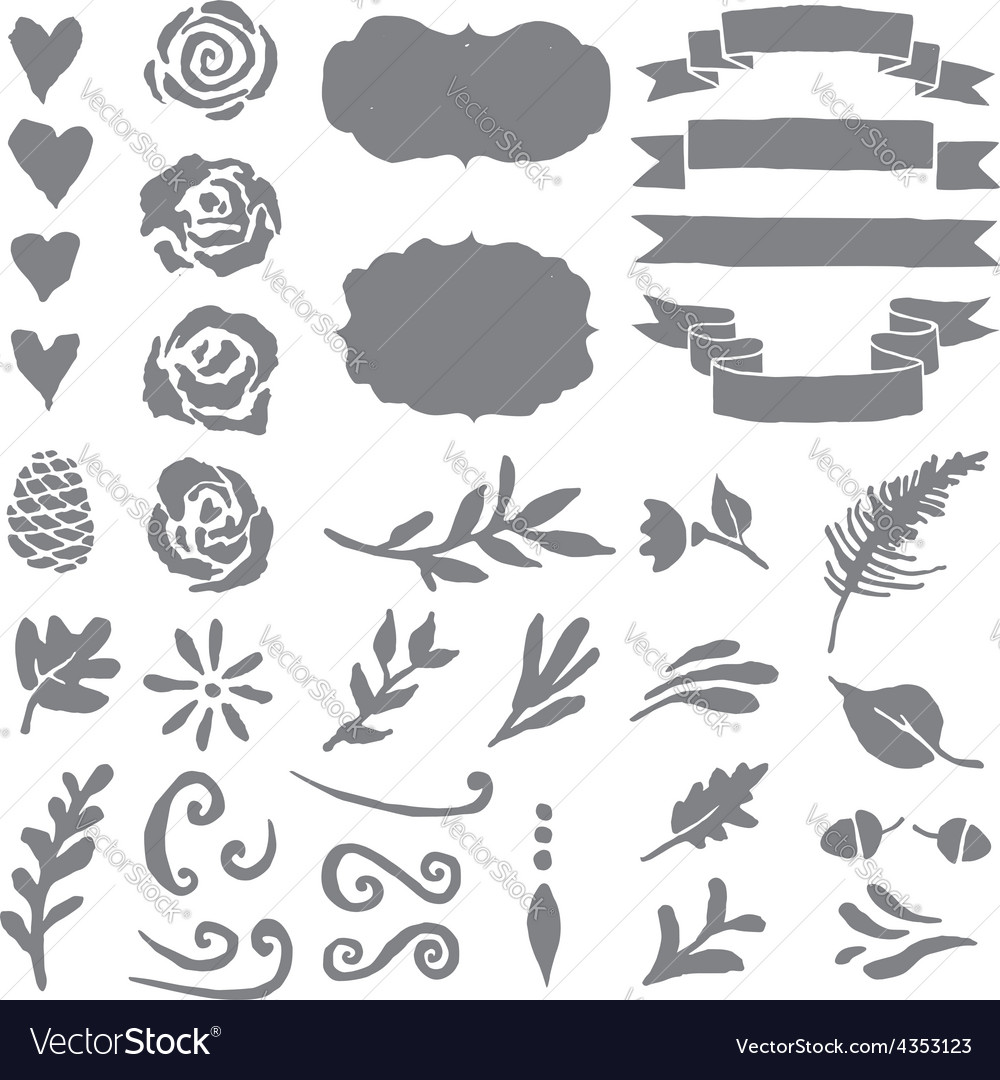 Set of plant elements for design vector | Price: 1 Credit (USD $1)