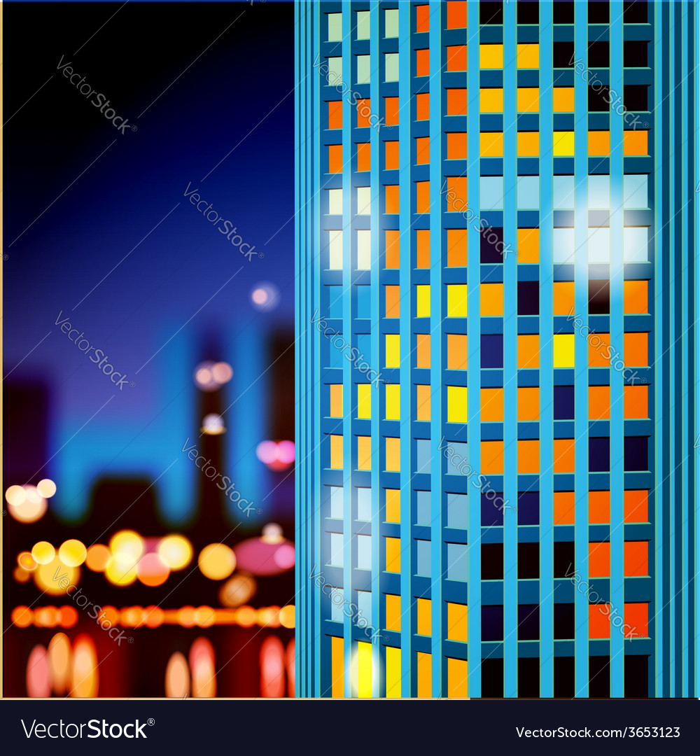 Skyscrapers at night vector | Price: 1 Credit (USD $1)
