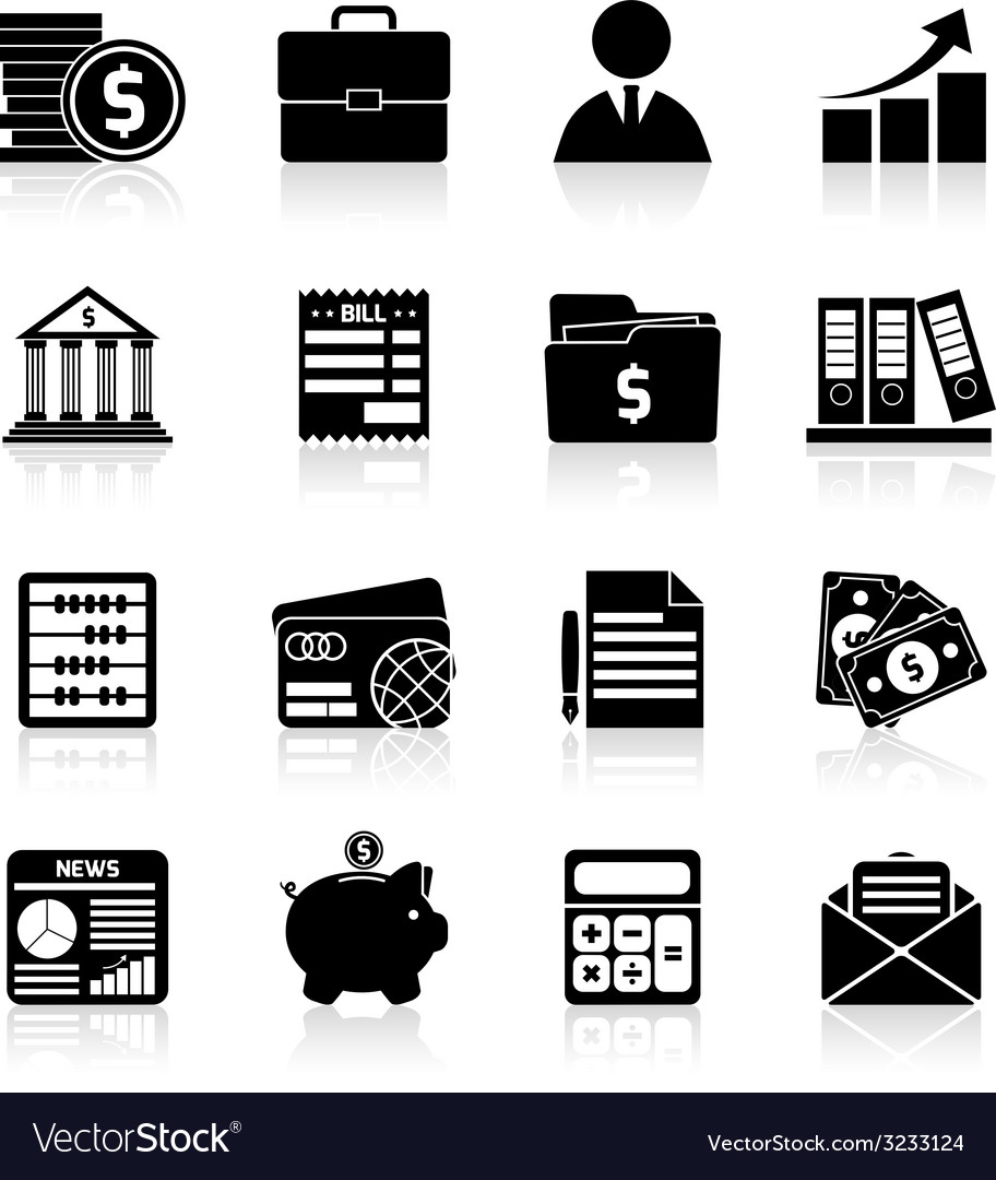 Accounting icons set black vector | Price: 1 Credit (USD $1)