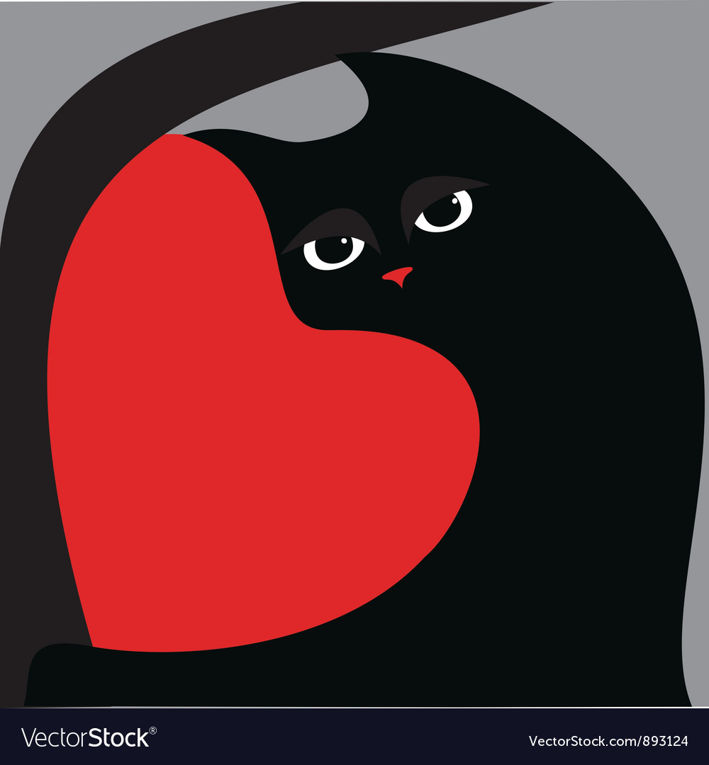 Black cat and red heart vector | Price: 1 Credit (USD $1)