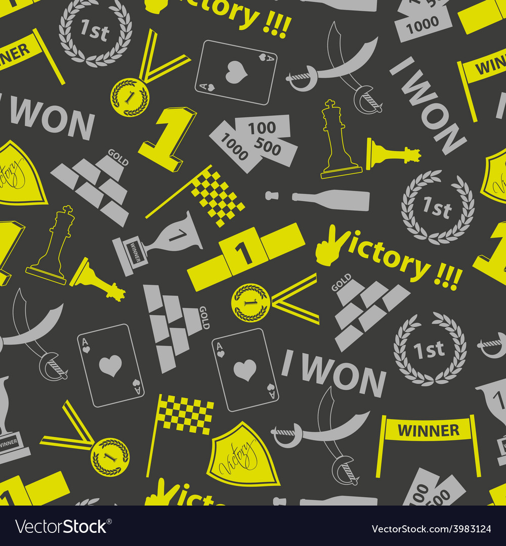 Flawless victory symbols seamless color pattern vector | Price: 1 Credit (USD $1)