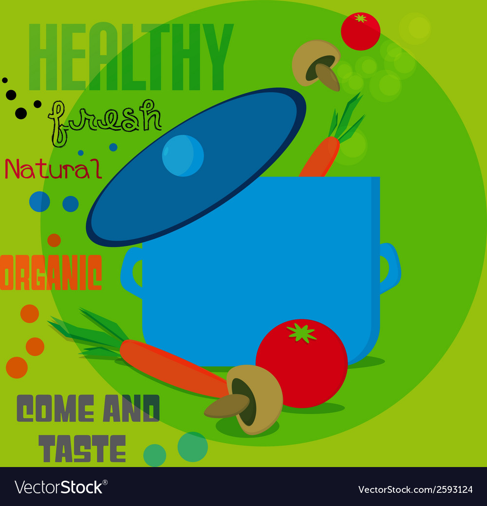 Fresh food menu with tomato and carrot with text vector | Price: 1 Credit (USD $1)