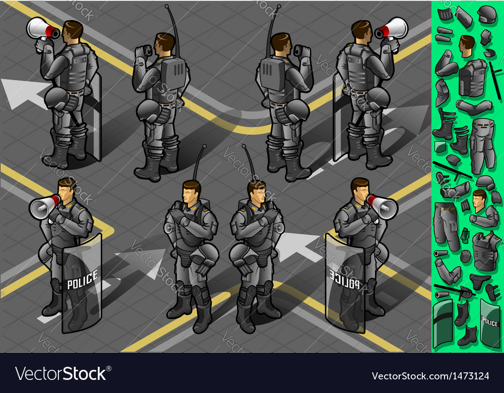 Isometric set of eight policemans standing vector | Price: 3 Credit (USD $3)