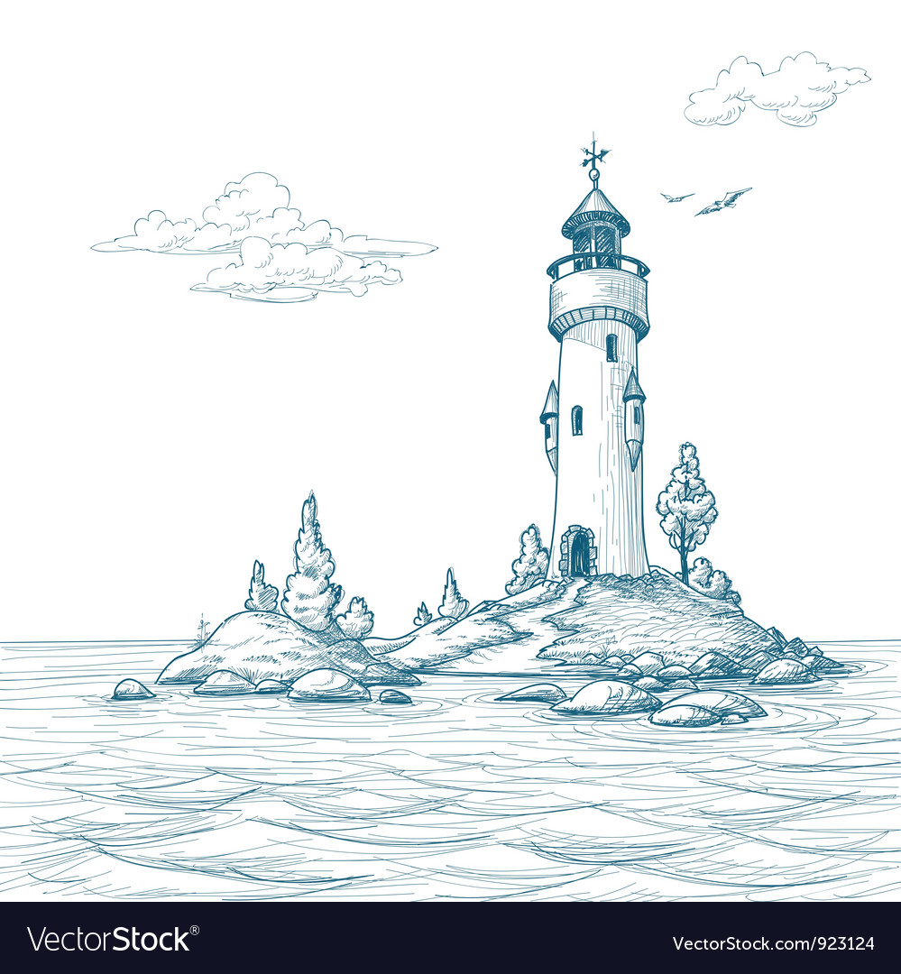 Lighthouse island in the sea sketch vector   Price: 1 Credit (USD $1)
