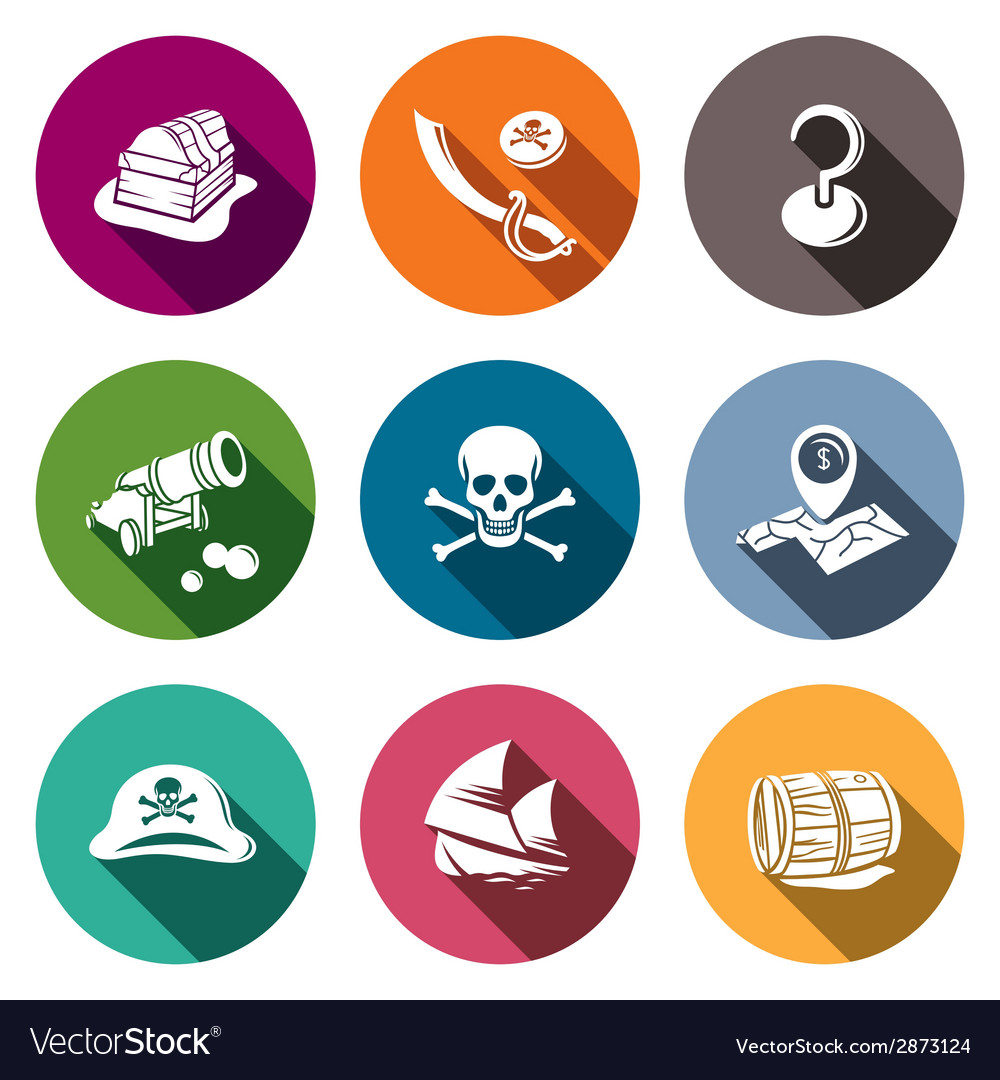 Pirates flat icon set vector | Price: 1 Credit (USD $1)