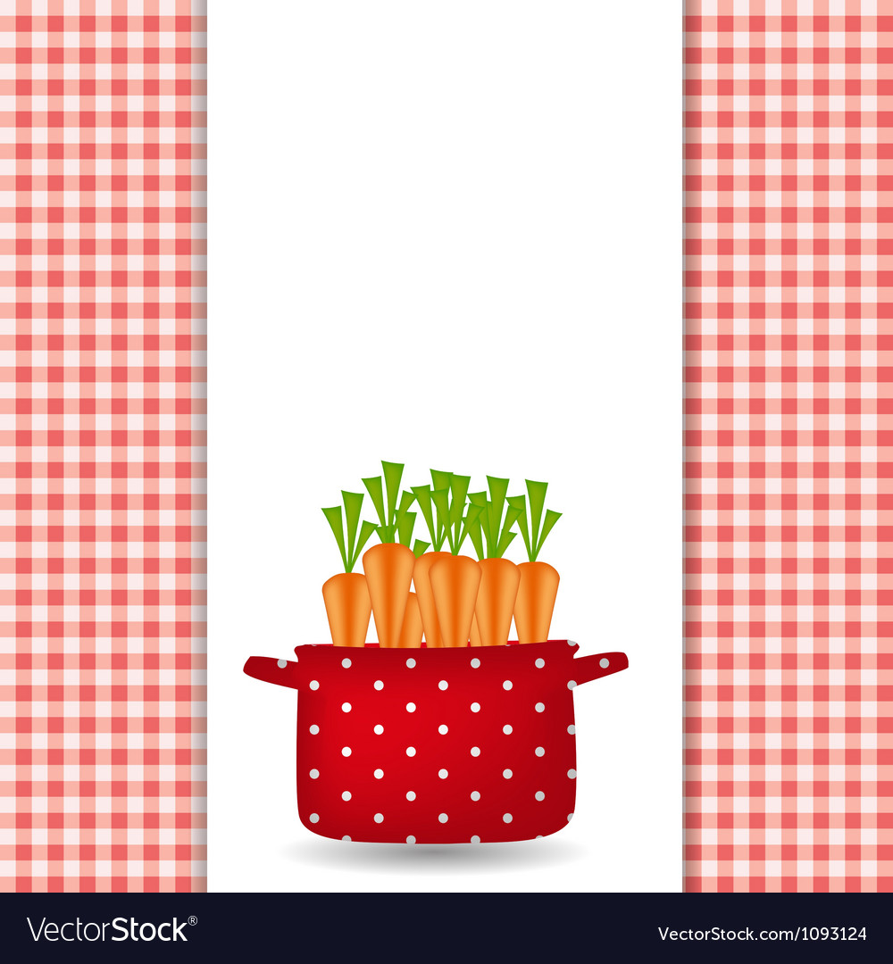 Red pot with carrots organic diet healthy food vector | Price: 1 Credit (USD $1)