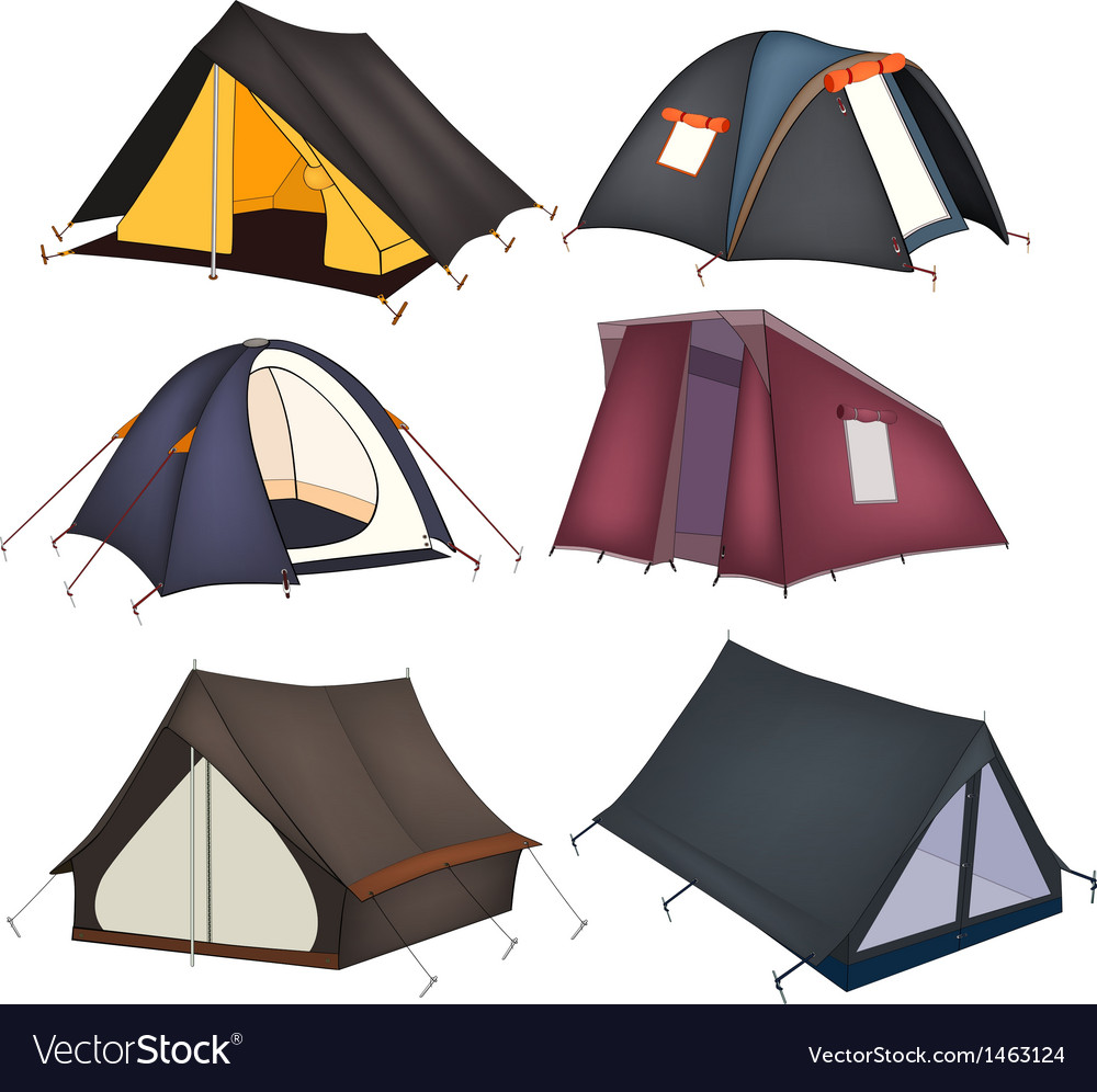 Set of tourist tents vector | Price: 1 Credit (USD $1)