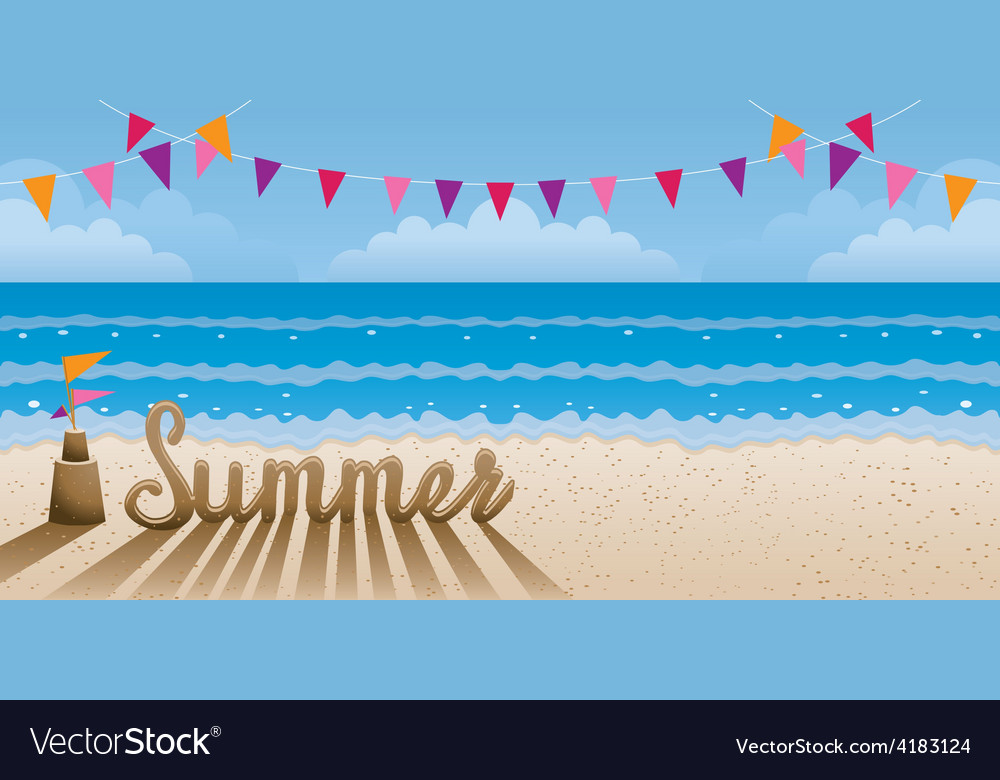Summer text made from sand on the beach vector | Price: 1 Credit (USD $1)