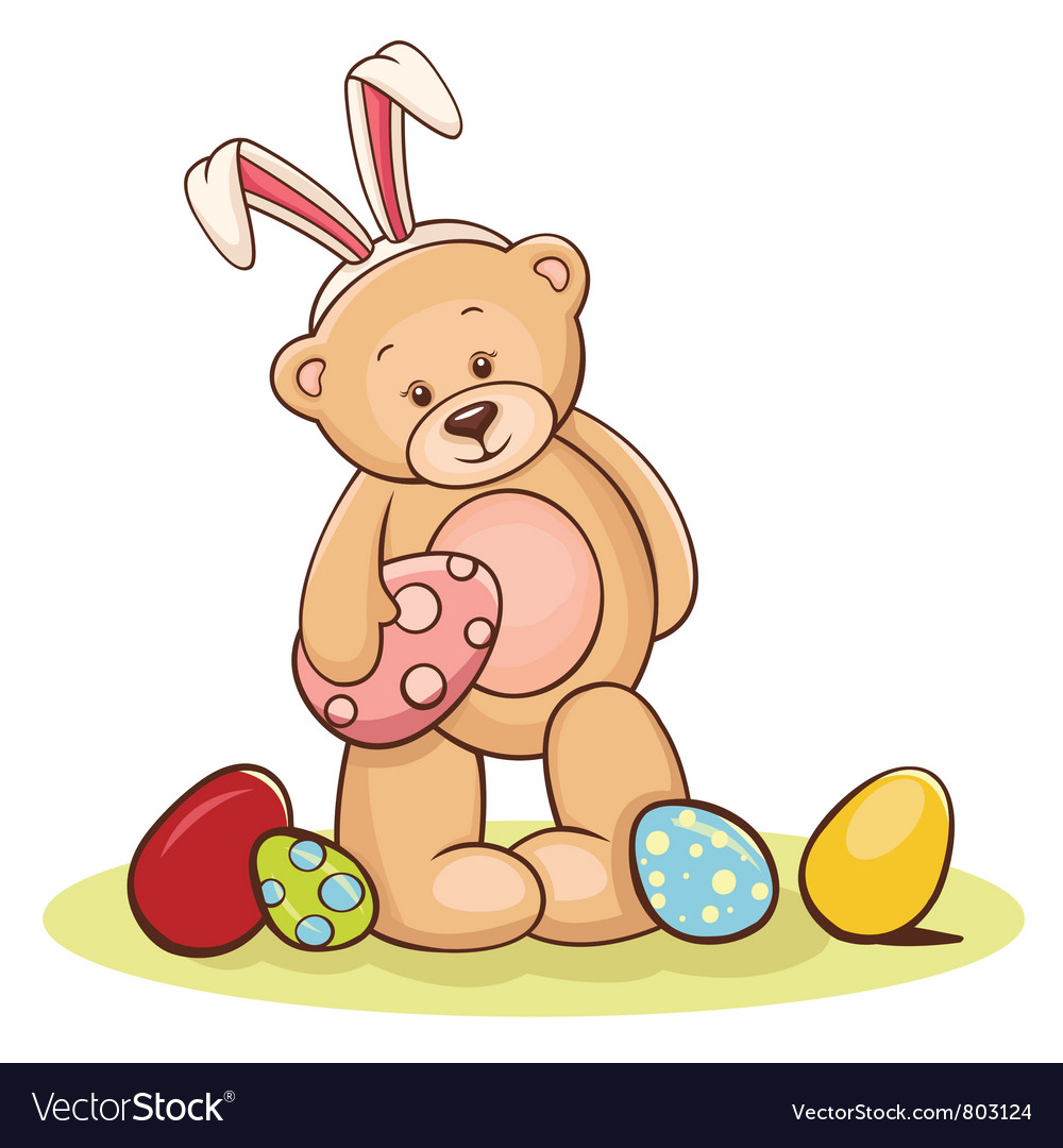 Teddy with easter egg vector | Price: 3 Credit (USD $3)