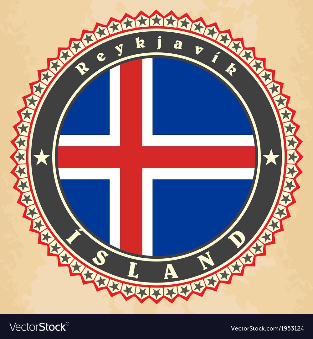 Vintage label cards of iceland flag vector | Price: 1 Credit (USD $1)