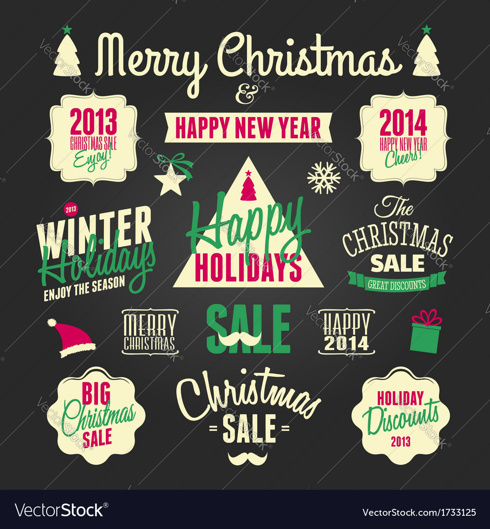 Chalkboard style christmas design elements set vector | Price: 1 Credit (USD $1)