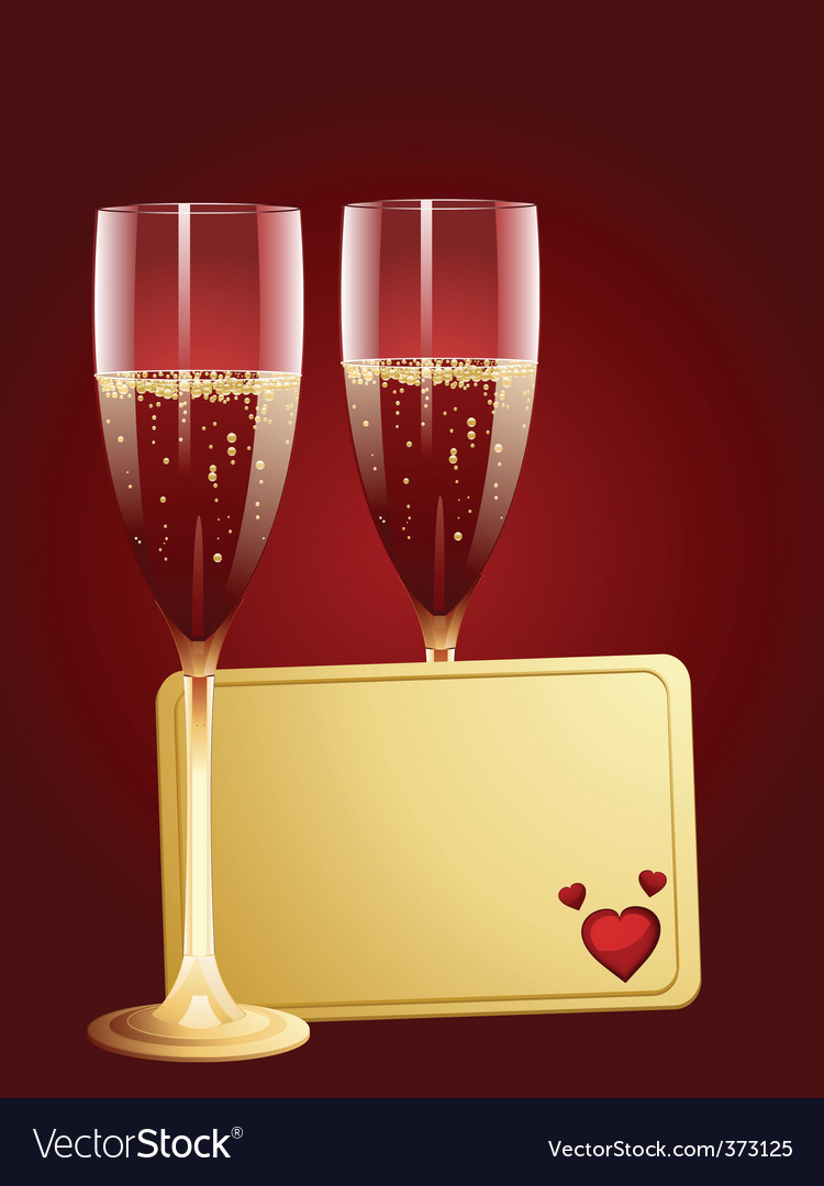 Champagne and valentine message tag vector | Price: 1 Credit (USD $1)
