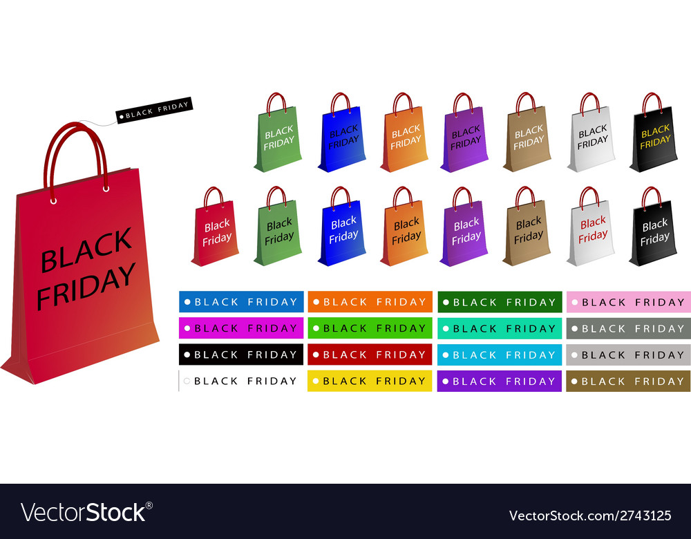 Colorful paper shopping bags for black friday vector | Price: 1 Credit (USD $1)