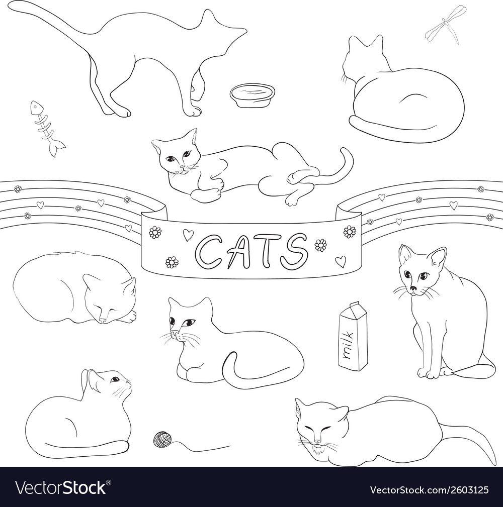 Contour cats set vector | Price: 1 Credit (USD $1)