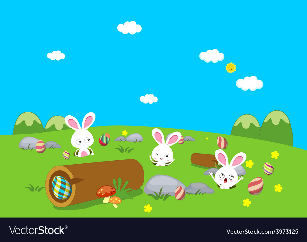 Easter bunny playful with eggs colorful vector | Price: 1 Credit (USD $1)