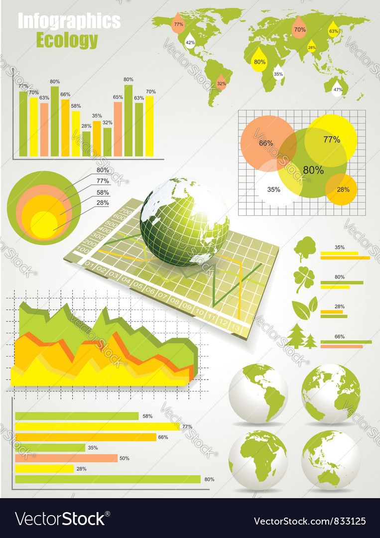 Ecology info graphics collection vector | Price: 1 Credit (USD $1)