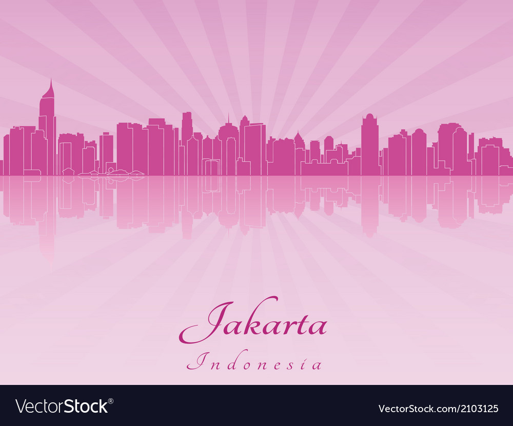 Jakarta skyline in purple radiant orchid vector | Price: 1 Credit (USD $1)