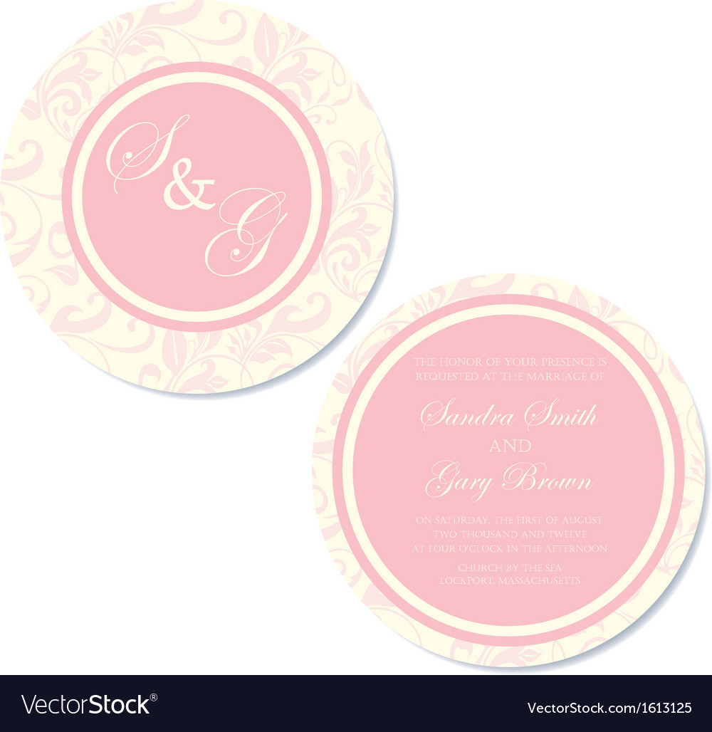 Round wedding invitation pink copy vector | Price: 1 Credit (USD $1)