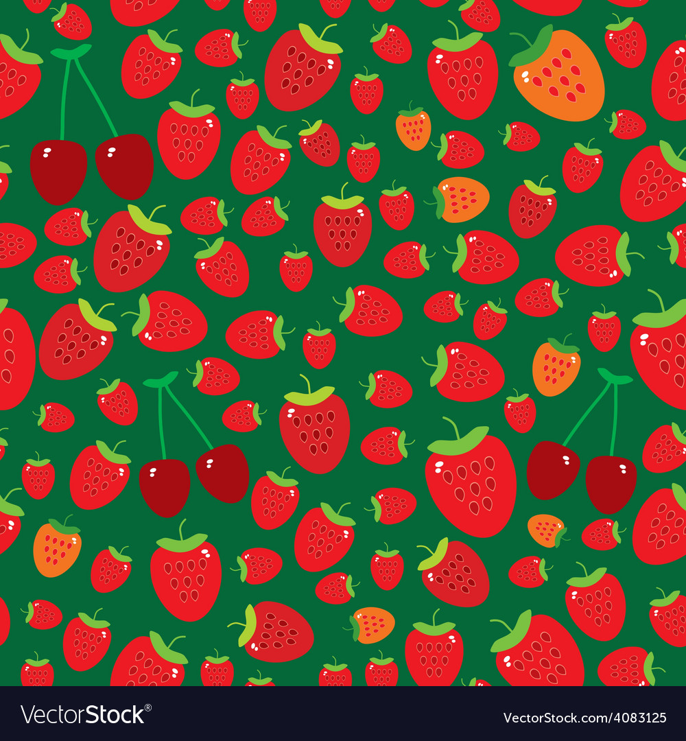 Seamless pattern with strawberries on green vector | Price: 1 Credit (USD $1)