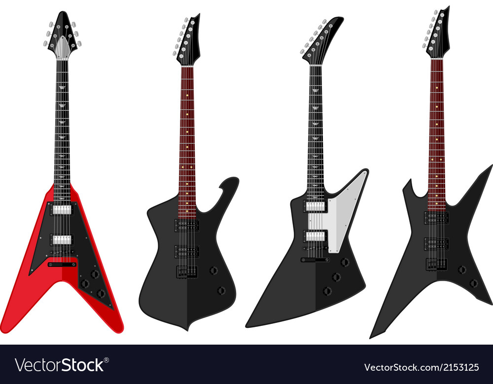 Set of isolated guitars vector | Price: 1 Credit (USD $1)