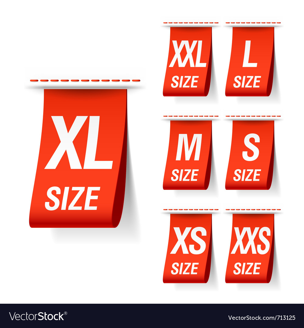 Size clothing labels vector | Price: 3 Credit (USD $3)