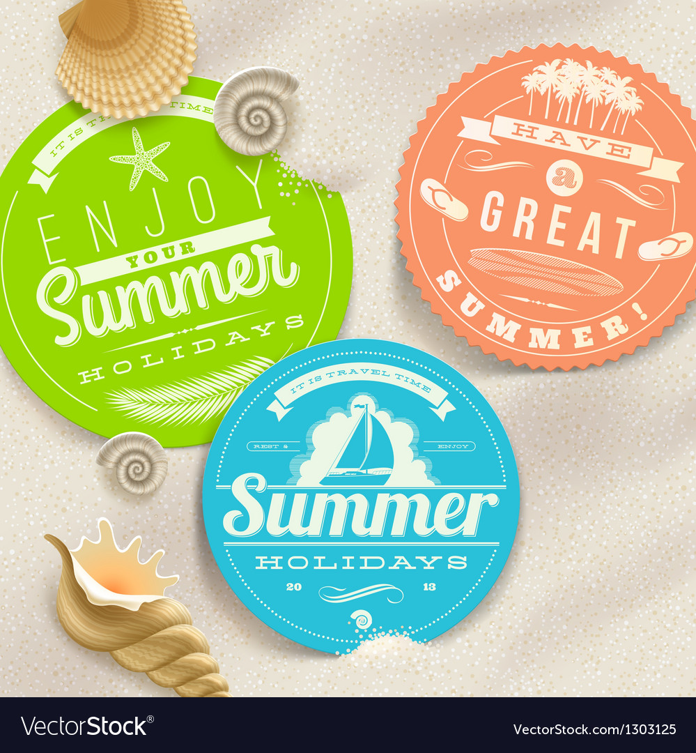 Summer vacation and travel labels vector