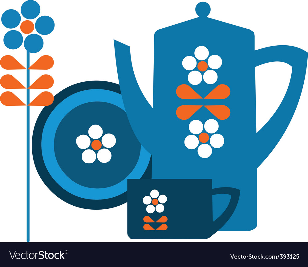 Tea pot set vector | Price: 1 Credit (USD $1)