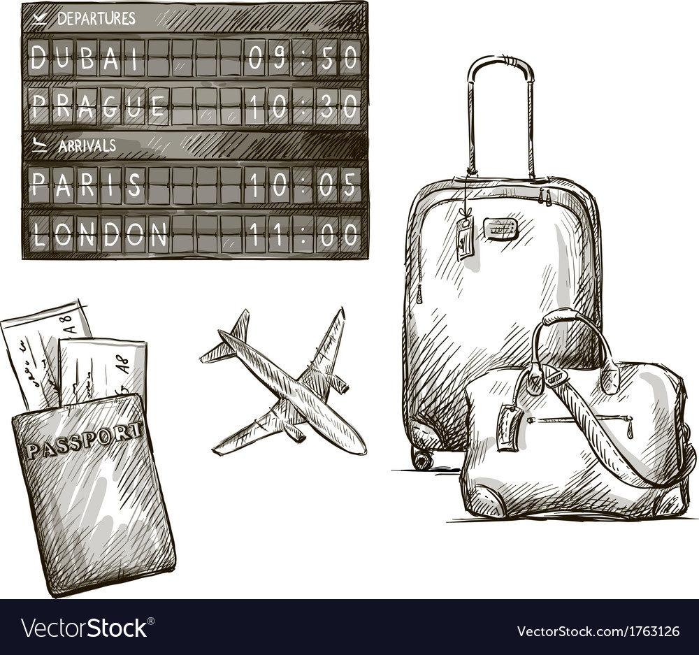 Airplane travel doodles hand drawn vector | Price: 1 Credit (USD $1)