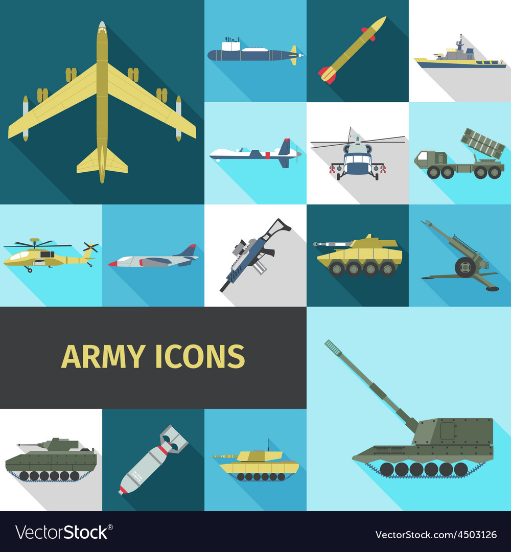 Army icons flat vector   Price: 1 Credit (USD $1)