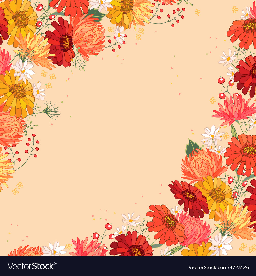 Backdrop with gerbera and aster red and yellow vector   Price: 1 Credit (USD $1)