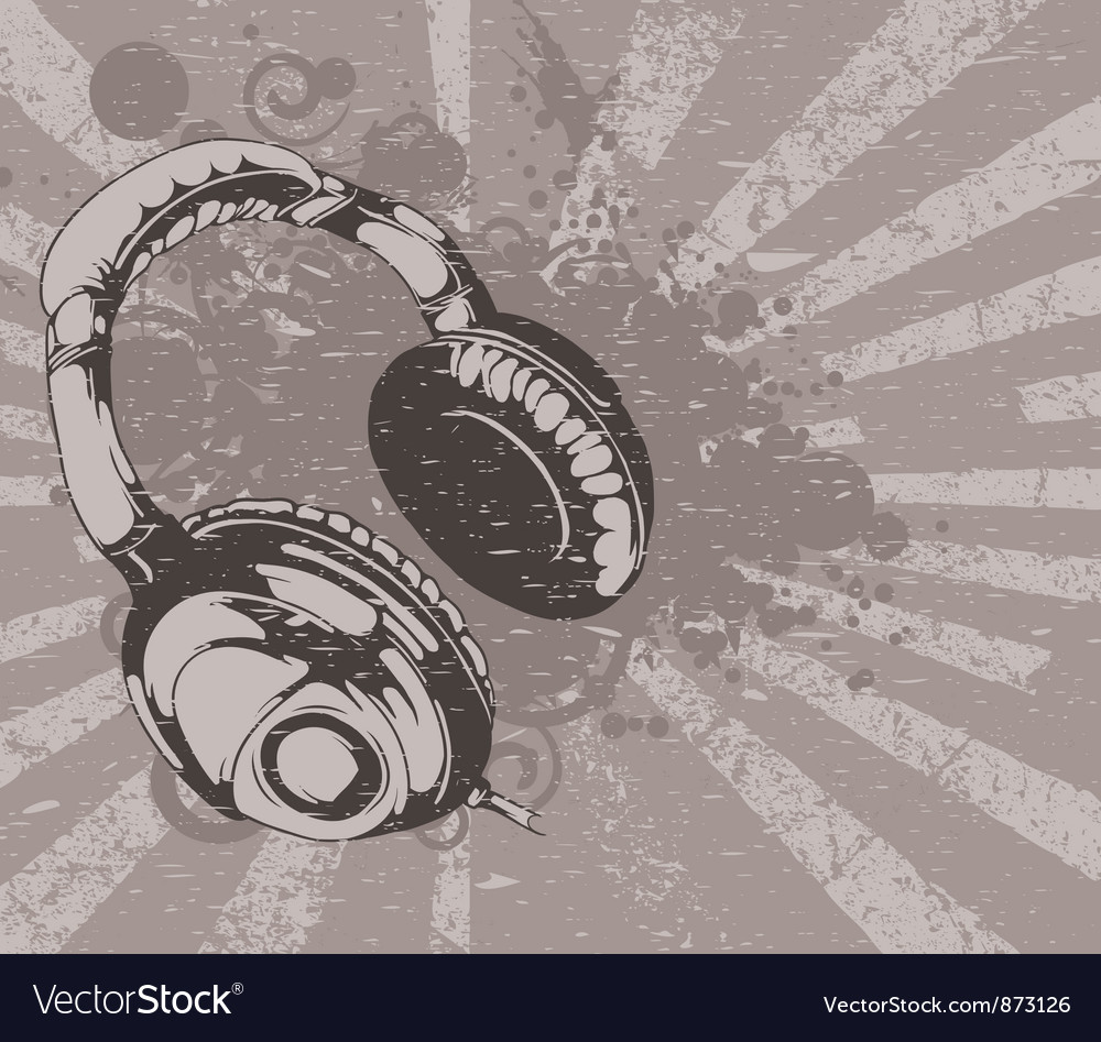 Concert wallpaper with headphones vector | Price: 1 Credit (USD $1)