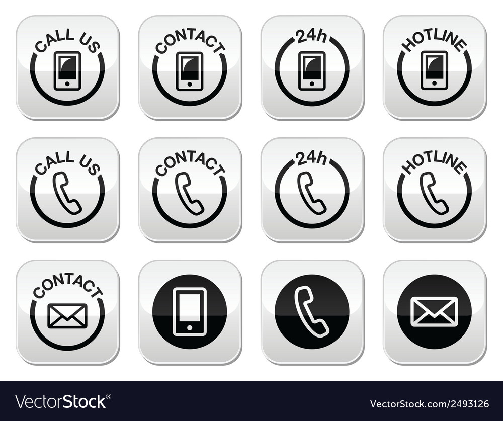 Contact hotline 24h help buttons set vector | Price: 1 Credit (USD $1)