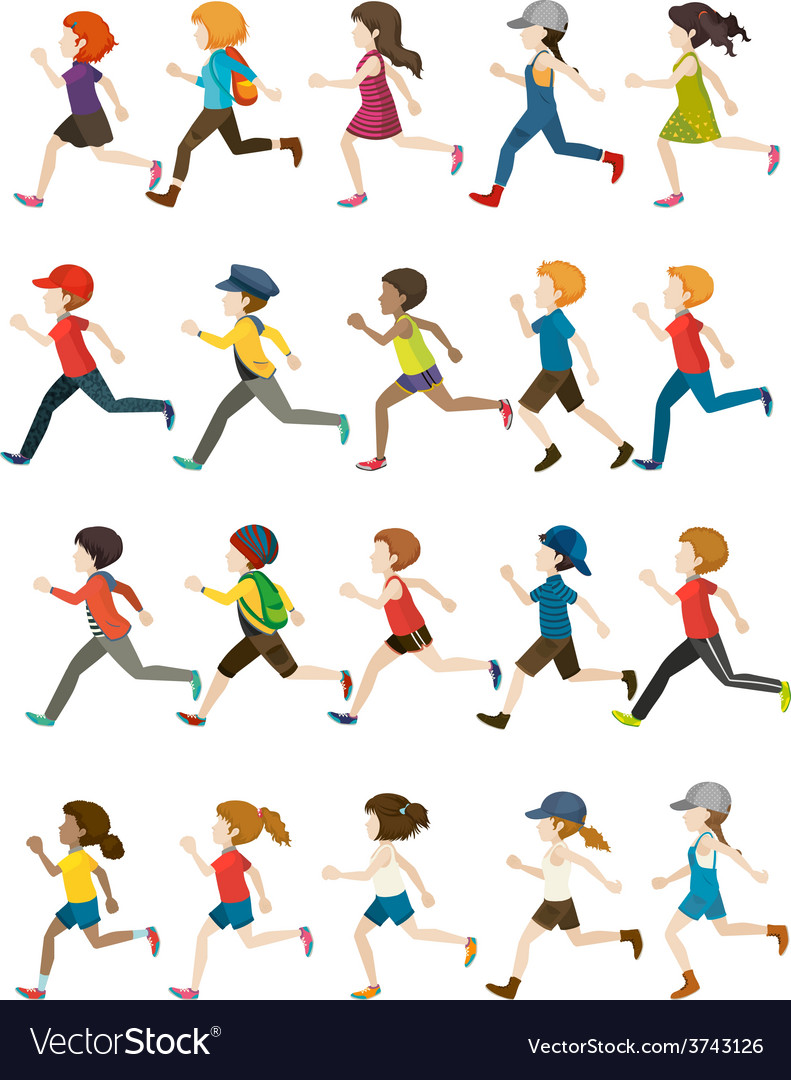 Faceless people running vector | Price: 1 Credit (USD $1)