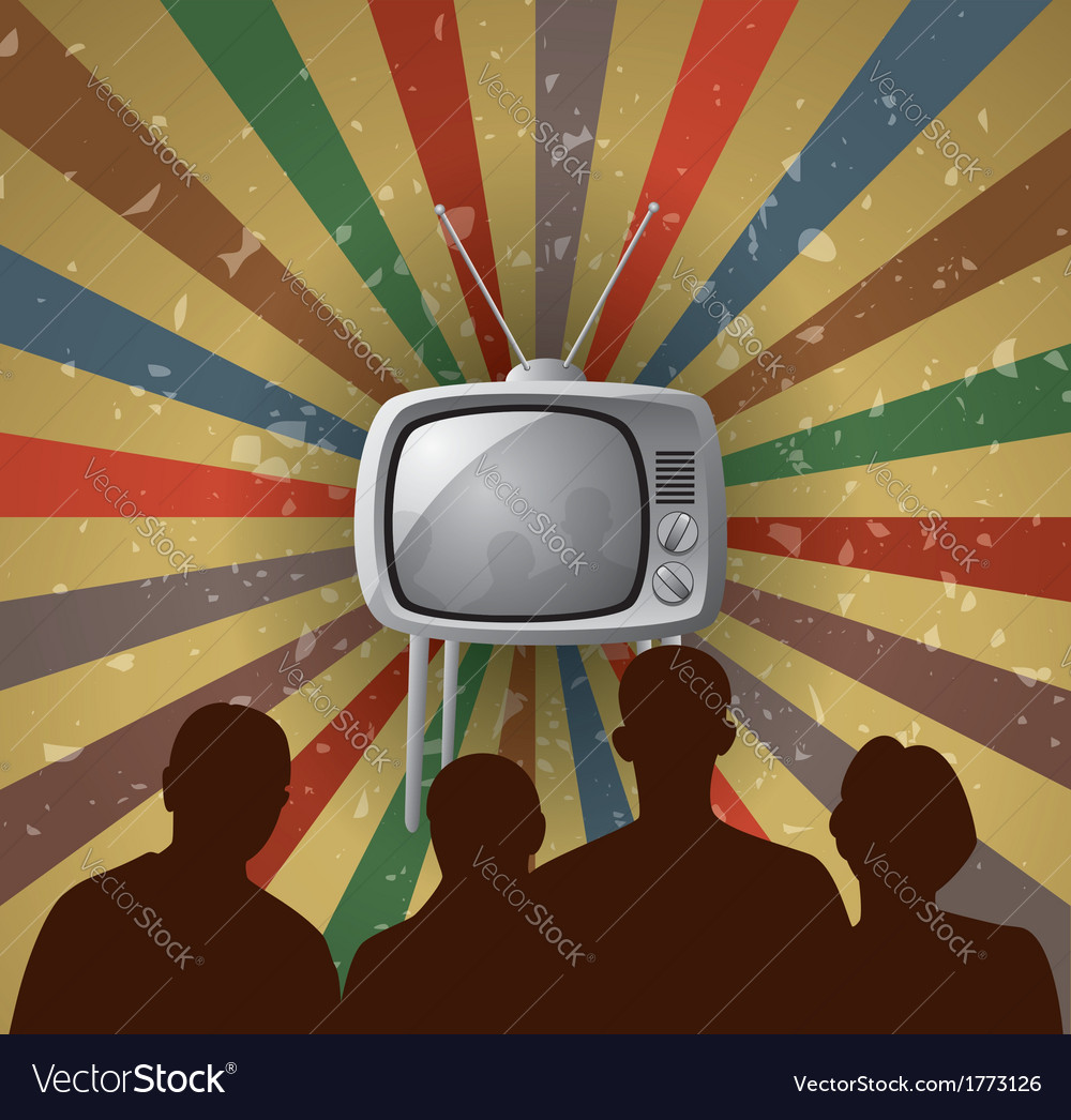 Family watching tv vector | Price: 1 Credit (USD $1)