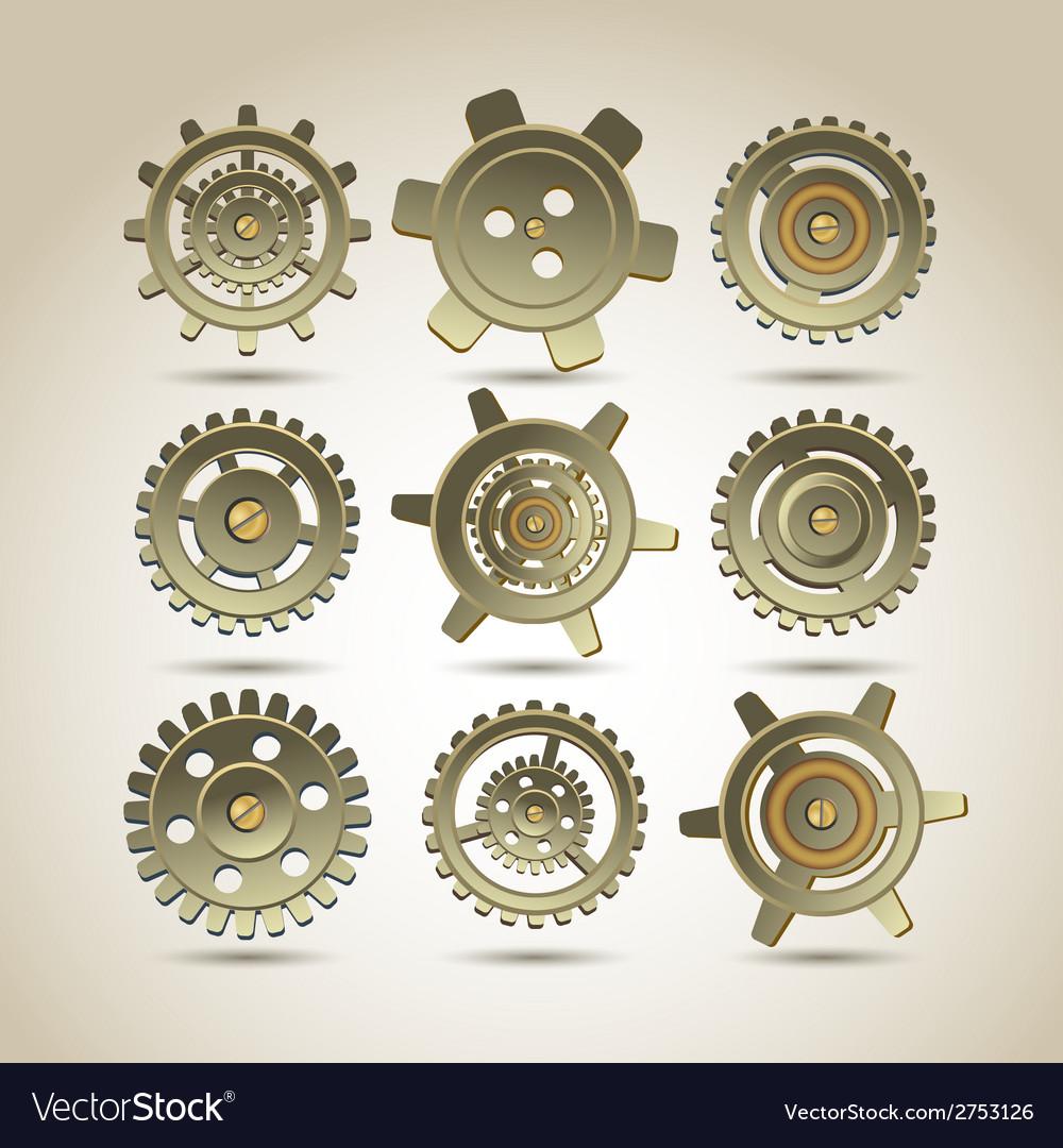 Gears set vector | Price: 1 Credit (USD $1)