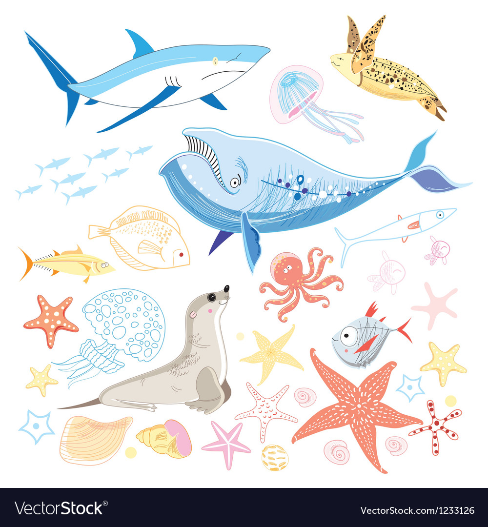 Graphic marine animals vector | Price: 3 Credit (USD $3)