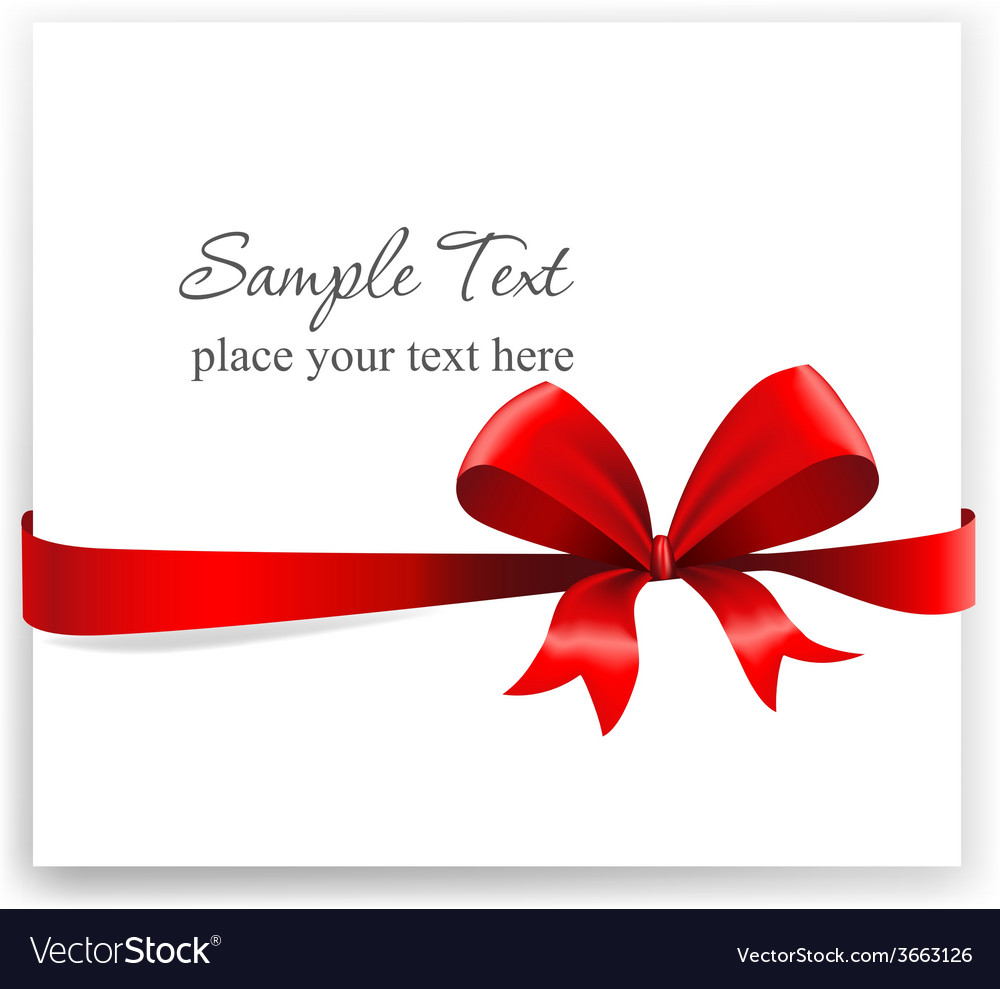 Greeting card with a red ribbon vector | Price: 1 Credit (USD $1)