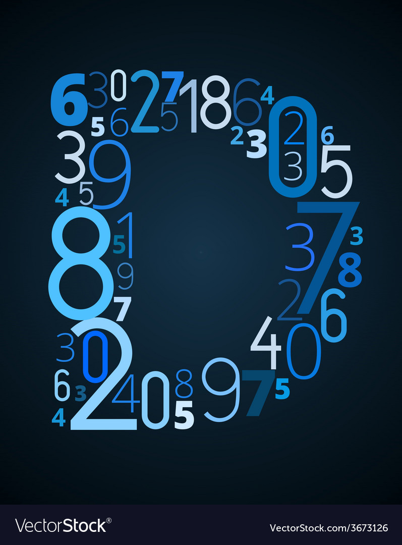 Letter d font from numbers vector | Price: 1 Credit (USD $1)