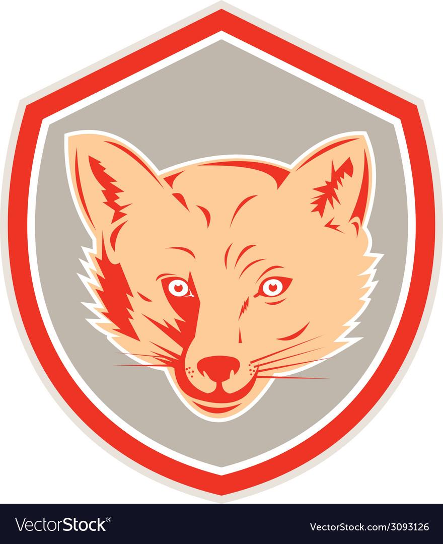 Red fox head front shield retro vector   Price: 1 Credit (USD $1)