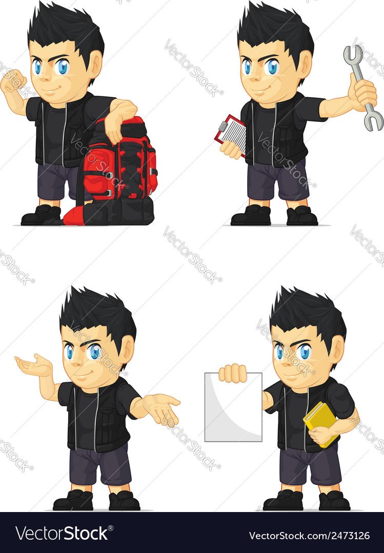 Spiky rocker boy customizable mascot 11 vector | Price: 1 Credit (USD $1)