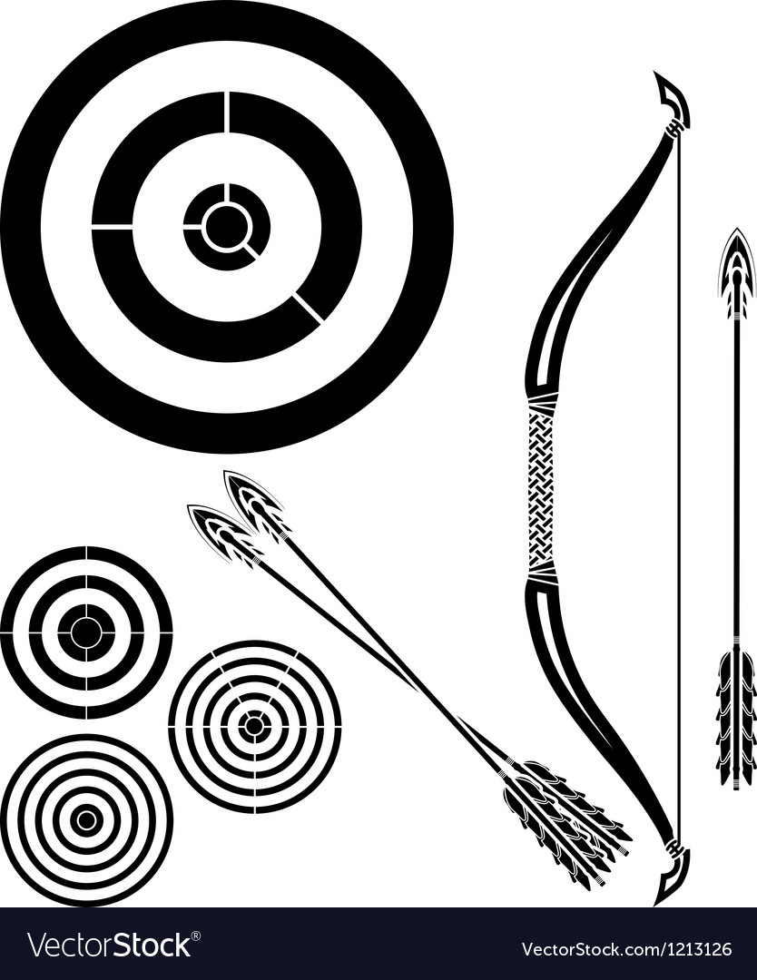 Stencil of bow arrows and targets vector | Price: 1 Credit (USD $1)