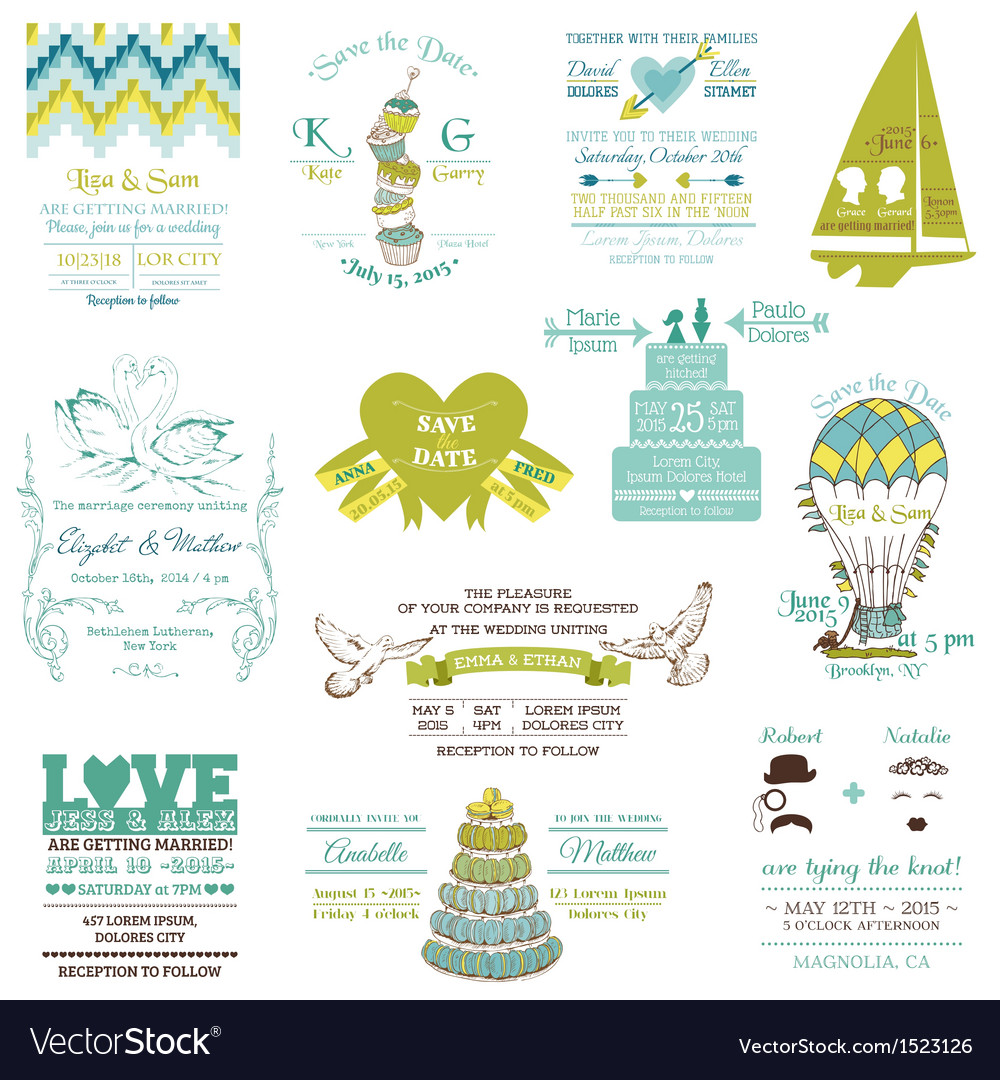 Wedding vintage invitation collection vector | Price: 1 Credit (USD $1)
