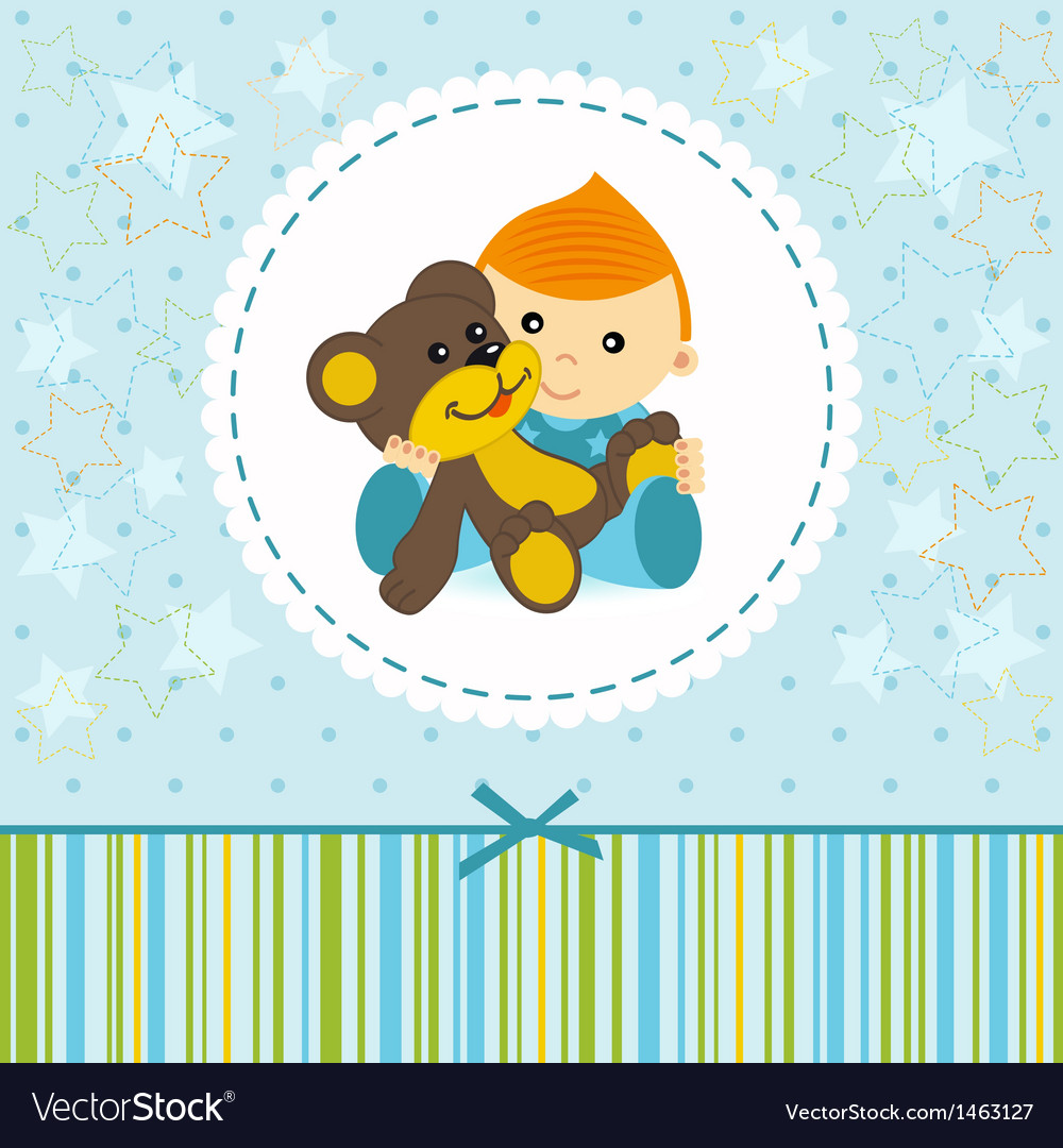 Baby boy keep a teddy bear vector | Price: 1 Credit (USD $1)